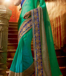 Buy Sea green embroidered chiffon saree with blouse party-wear-saree online