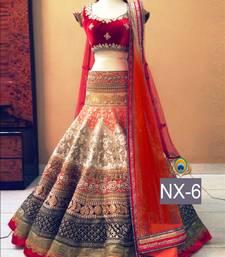 Buy Multicolor embroidered net unstitched lehenga wedding-lehenga online