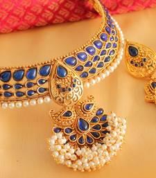 Buy Royal antique blue designer choker necklace set - DJ07520 necklace-set online