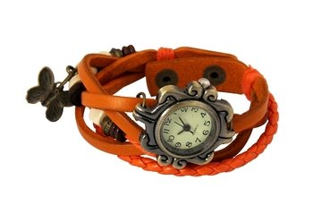 Orange MultiLayer Charm Watch Bracelet