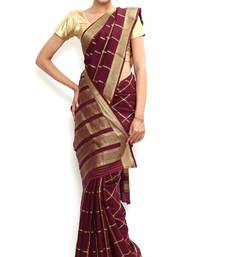 Buy Sudarshan silks Wonderful Pure Mysore silk saree-Maroon-SSSB124-VQ-Crepe silk-saree online