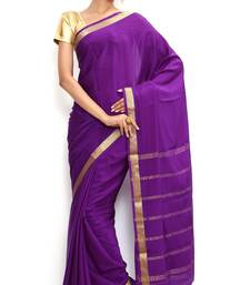 Buy Sudarshan silks Wonderful Pure Mysore silk saree-Purple-SSSB132-VQ-Crepe silk-saree online