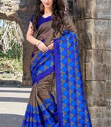 Buy Blue printed bhagalpuri silk saree with blouse fashion-deal online
