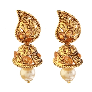 Brown Austrian Stone Gold Plated Pearl Dangler Earrings