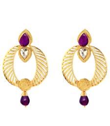 Buy Purple Austrian Stone Gold Plated Dangler Earrings Woman online