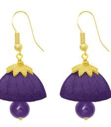Buy Zinc Alloy Gold Plated Purple Pearl Jhumki Dangler Earrings Woman online
