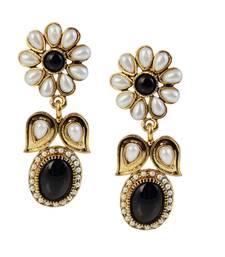 Buy Black Pota Stone Gold Plated Dangler Earrings Woman online