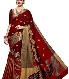 Buy Red printed poly cotton saree with blouse party-wear-saree online