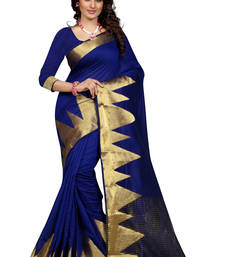 Buy Blue plain poly cotton saree with blouse banarasi-silk-saree online