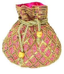 Buy Beaded Drawstring Potli/Batwa- Pink potli-bag online