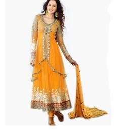 Buy Yellow embroidered net semi stitched salwar with dupatta semi-stitched-salwar-suit online