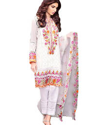 Buy White embroidered georgette semi stitched salwar with dupatta semi-stitched-salwar-suit online