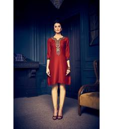 Buy Maroon embroidered rayon embroidered-kurtis embroidered-kurti online