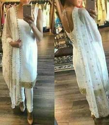 Buy white embroidered banglori semi stitched salwar with dupatta bollywood-salwar-kameez-online online