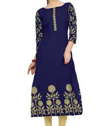 Buy blue printed crepe stitched kurti long-kurtis online