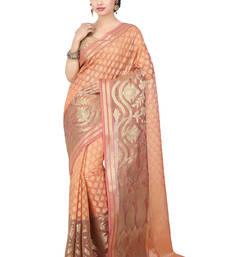 Buy Peach woven art silk saree with blouse art-silk-saree online
