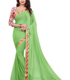 Buy Light green printed nazneen saree with blouse party-wear-saree online