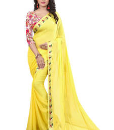 Buy Yellow printed nazneen saree with blouse party-wear-saree online