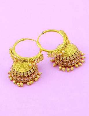 Golden Beige Polki Stones Jhumki Earrings Jewellery for Women - Orniza