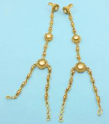 Buy Golden Beige Polki Stones Haath Panja Phool Jewellery for Women - Orniza haath-phool-hath-panja online