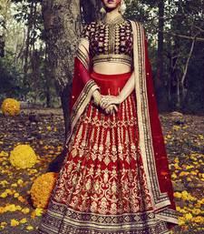 Buy Maroon embroidered dupion banglory silk unstitched lehenga women-ethnic-wear online