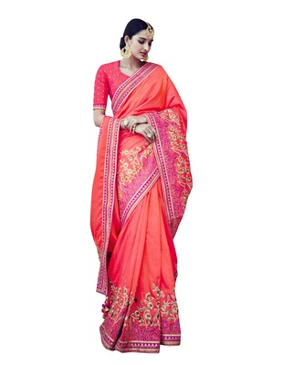 Peach embroidered tussar silk saree with blouse