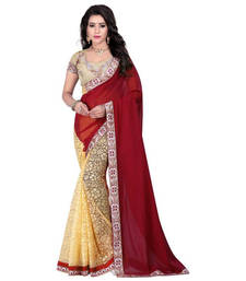 Buy Maroon embroidred saree with blouse brasso-saree online