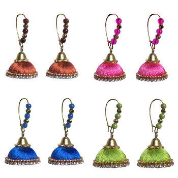 Pack of four colorsilk thread jhumkas