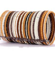 Buy Brown and Beige Beads Fashion Cuff Bangle Bracelet for Women and Girls bangles-and-bracelet online