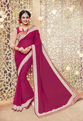 Raspberry embroidered georgette saree with blouse