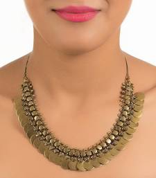 Buy Gold coins choker hasli necklace Necklace online
