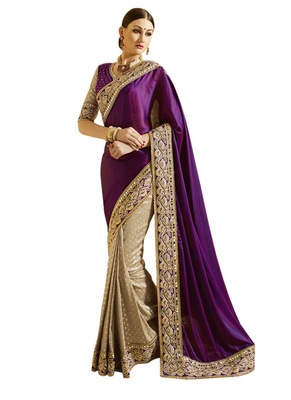 purple Embroidered silk saree with blouse