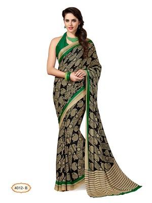Light multicolor printed Bhagalpuri Cotton Silk saree with blouse