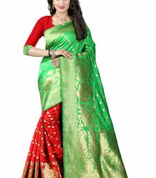 Buy Green hand woven cotton silk saree with blouse handloom-saree online