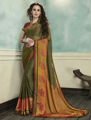 Olive printed brasso saree with blouse