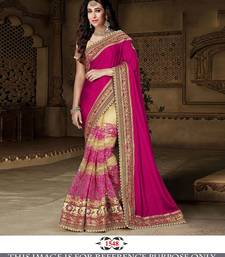 Buy Dark rani pink embroidered georgette saree with blouse bridal-saree online