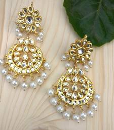 Buy Kundan and Pearls Alia Chandbali danglers-drop online