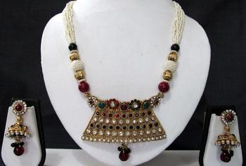 Maroon Green stone Pearl Ball Big Pendant necklace set