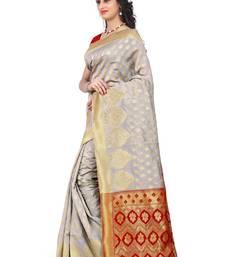 Buy Off-White banarasi silk saree with blouse jacquard-saree online