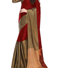 Buy red printed cotton saree with blouse indian-dress online