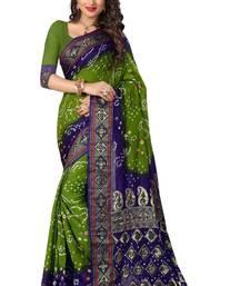 Buy Blue printed bhagalpuri silk saree with blouse fashion-deal online
