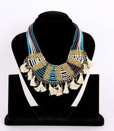 Buy Beige Zircon beaded jewellery necklaces Necklace online