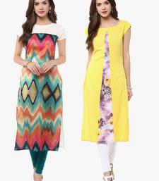 Buy Multicolor printed crepe party-wear-kurti combo-kurti online