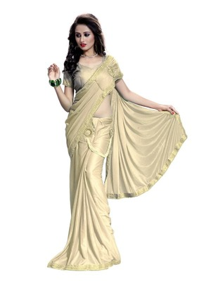 Beige embroidered crepe saree with blouse