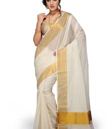 Buy Off white plain cotton saree with blouse kerala-saree online