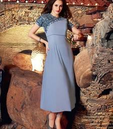 Buy Grey embroidered linen kurtis kurtas-and-kurti online