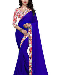 Buy Blue plain georgette saree with blouse