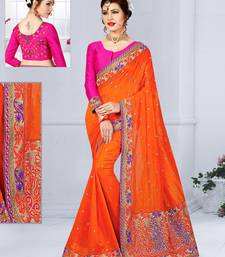 Buy Orange embroidered silk blend saree with blouse silk-saree online