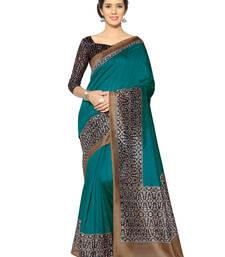 Buy turquoise printed bhagalpuri silk saree with blouse kalamkari-saree online