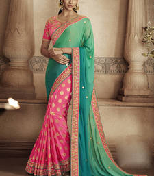 Buy Green embroidered jacquard saree with blouse jacquard-saree online